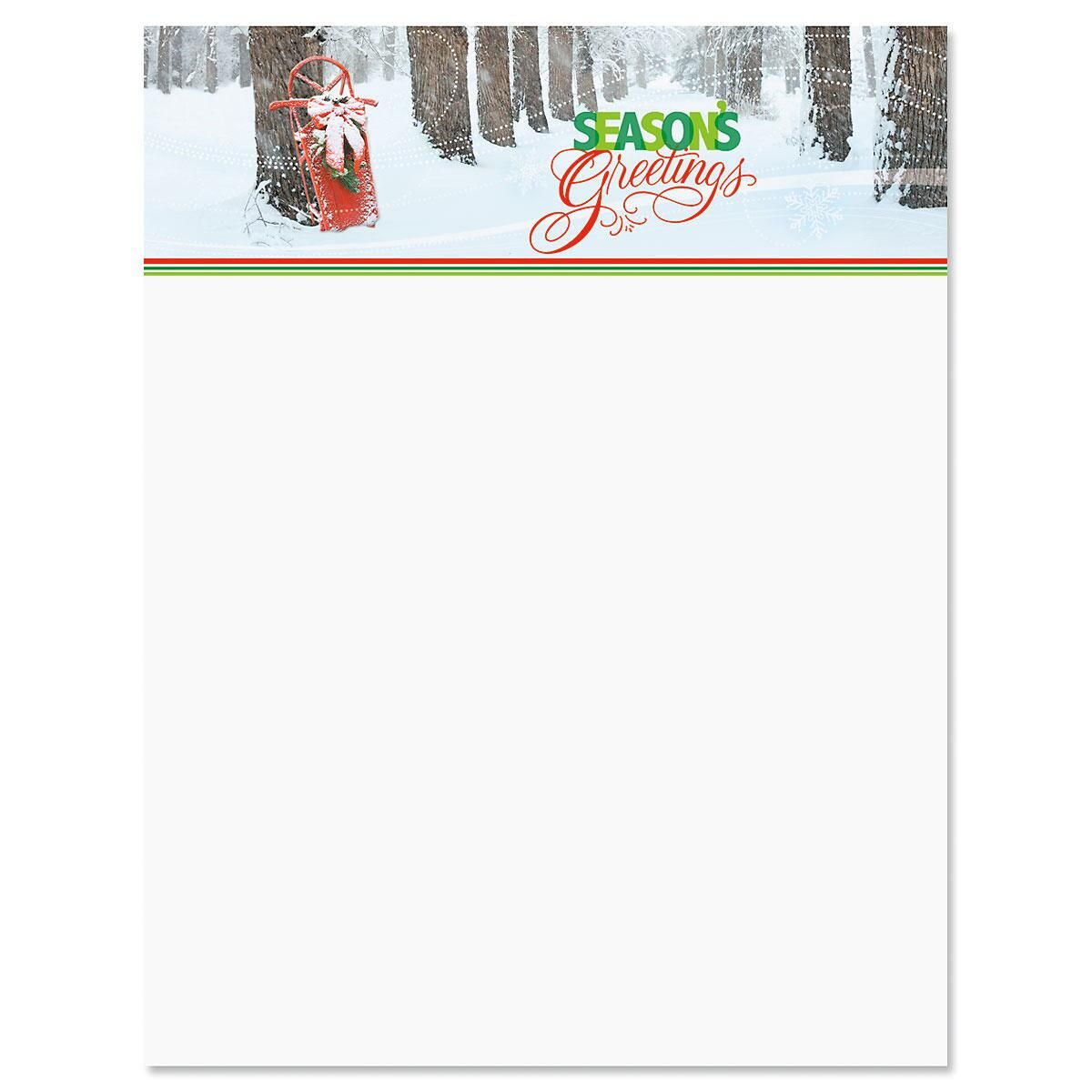 Sled in Trees Christmas Letter Papers