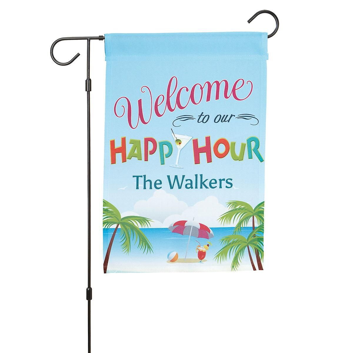 Happy Hour Personalized Welcome Flag
