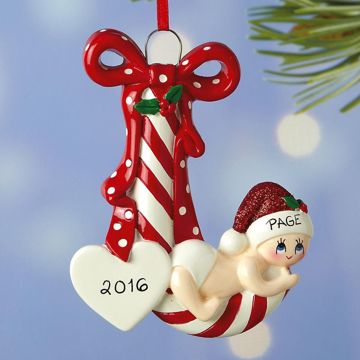 Candy Cane Baby Ornament