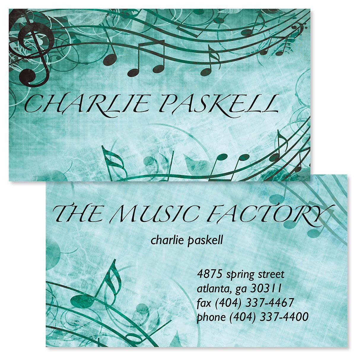 Sheet Music Aqua Double-Sided Business Cards