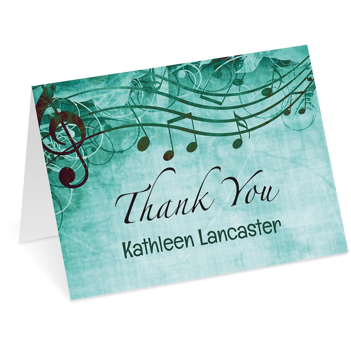 Sheet Music Aqua Personalized Thank You Note Cards