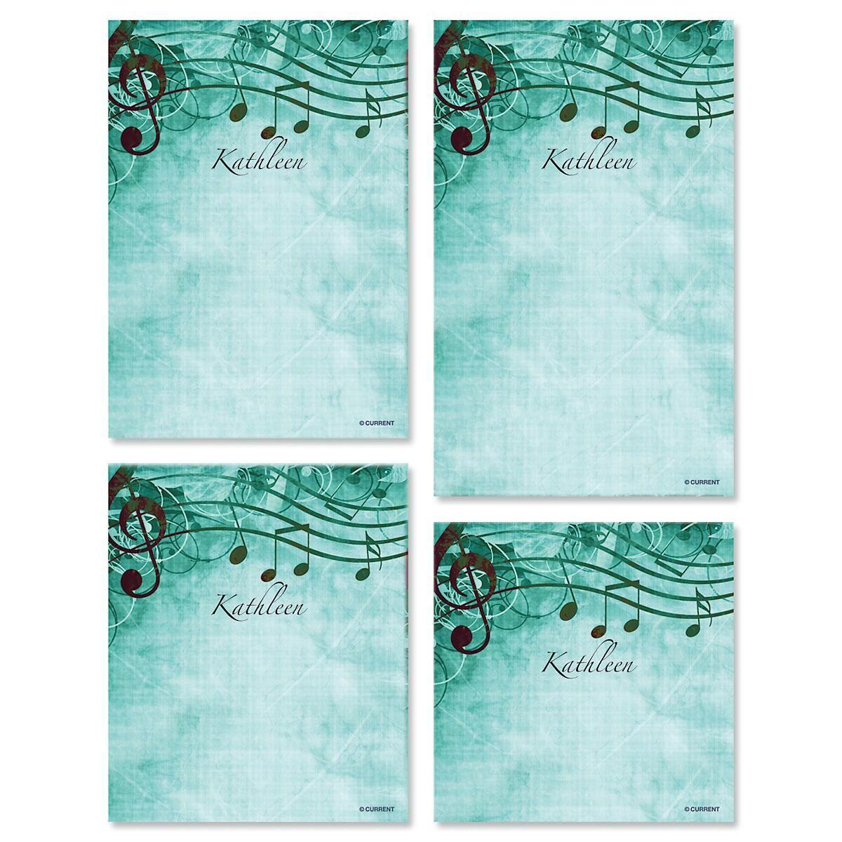 Sheet Music Aqua Personalized Notepad Set