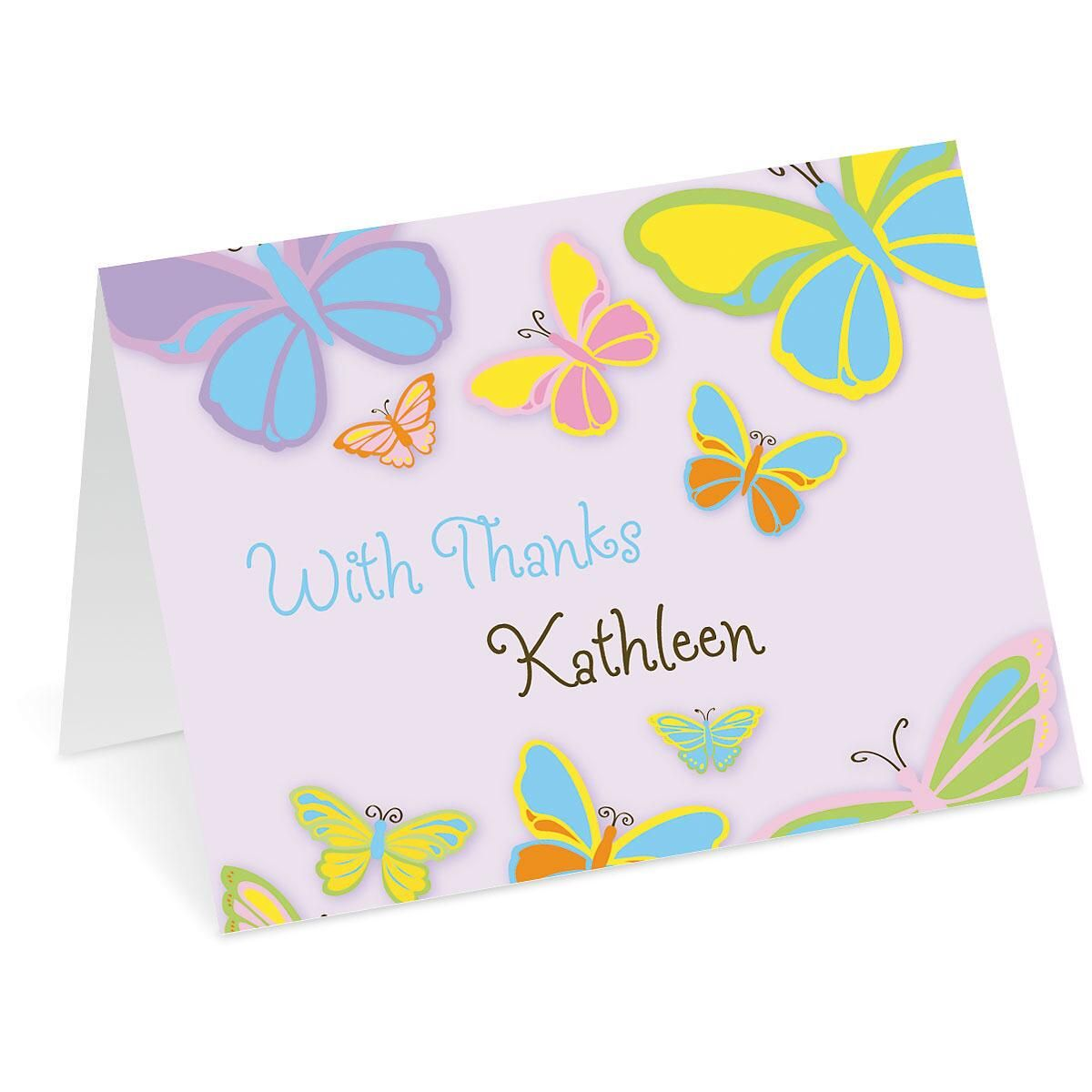 Butterfly Personalized Thank You Cards