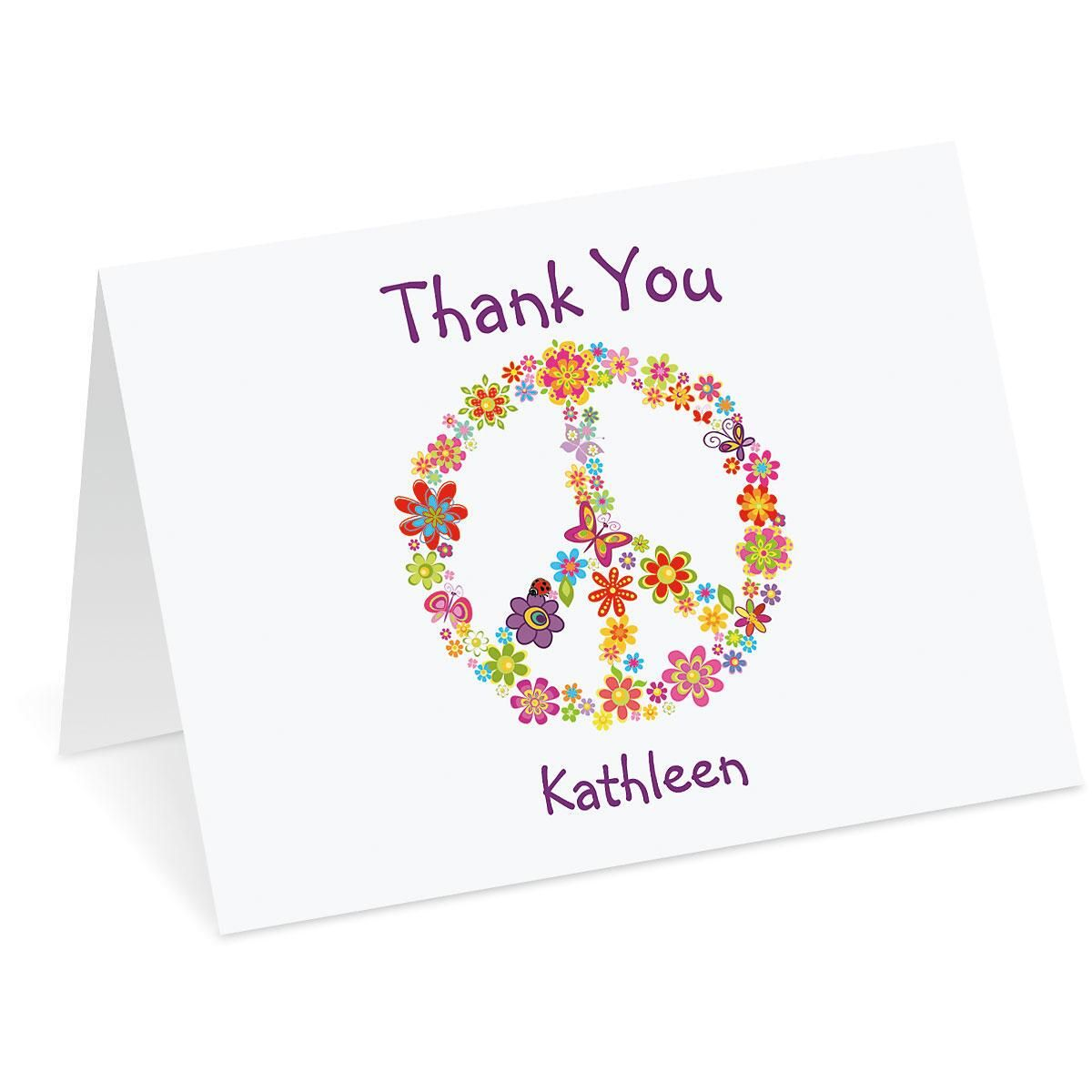 Peace Sign Personalized Thank You Note Cards