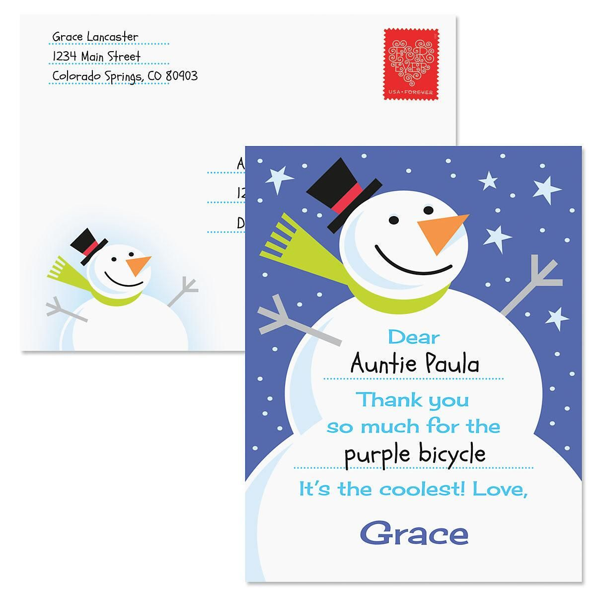 Kids' Christmas Snowman Thank You Postcard