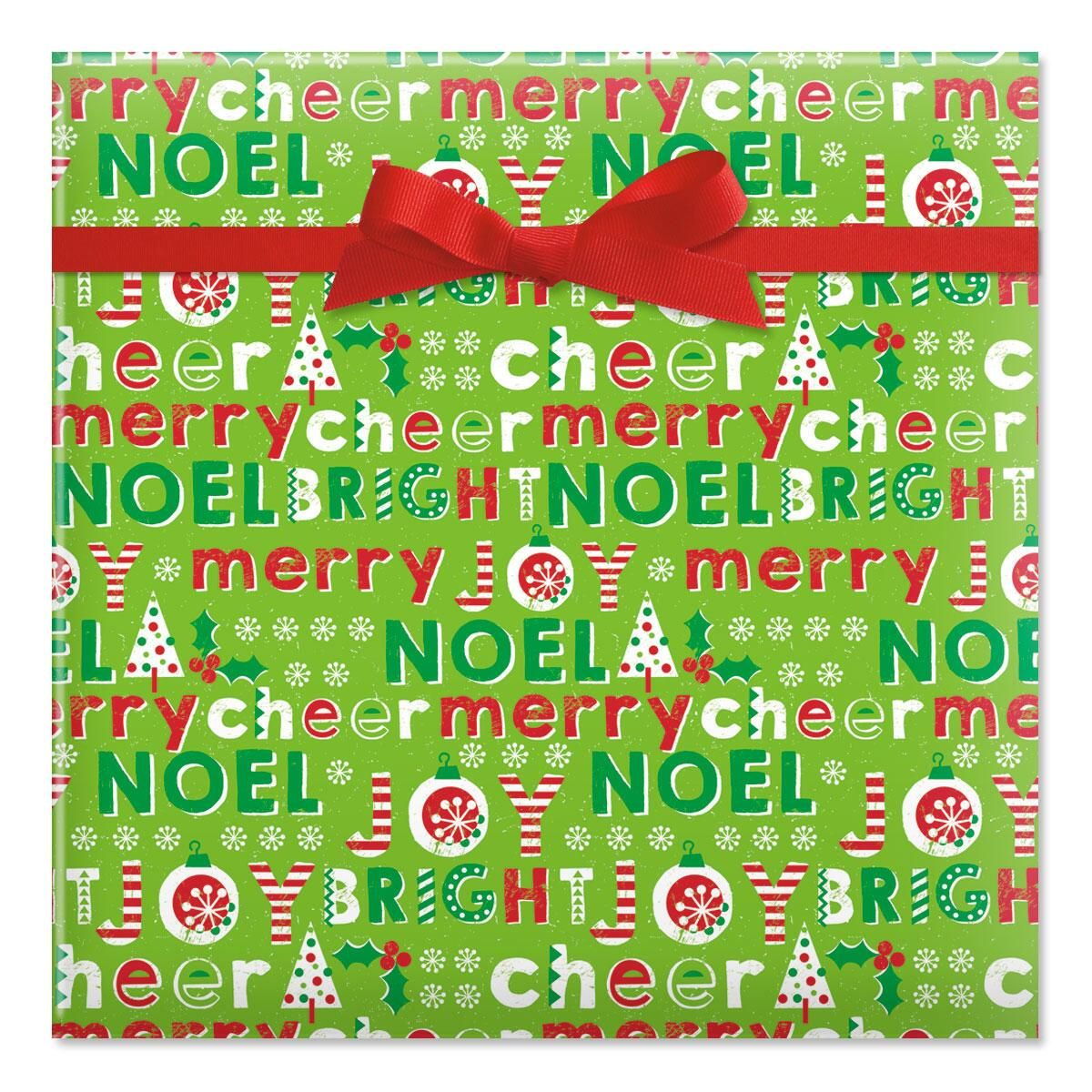 Chalk Icons on Green Jumbo Rolled Gift Wrap