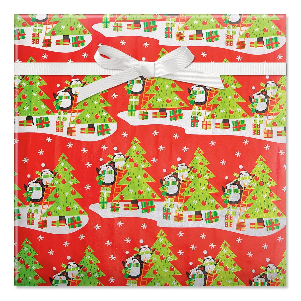 Penguin Party Foil Rolled Gift Wrap
