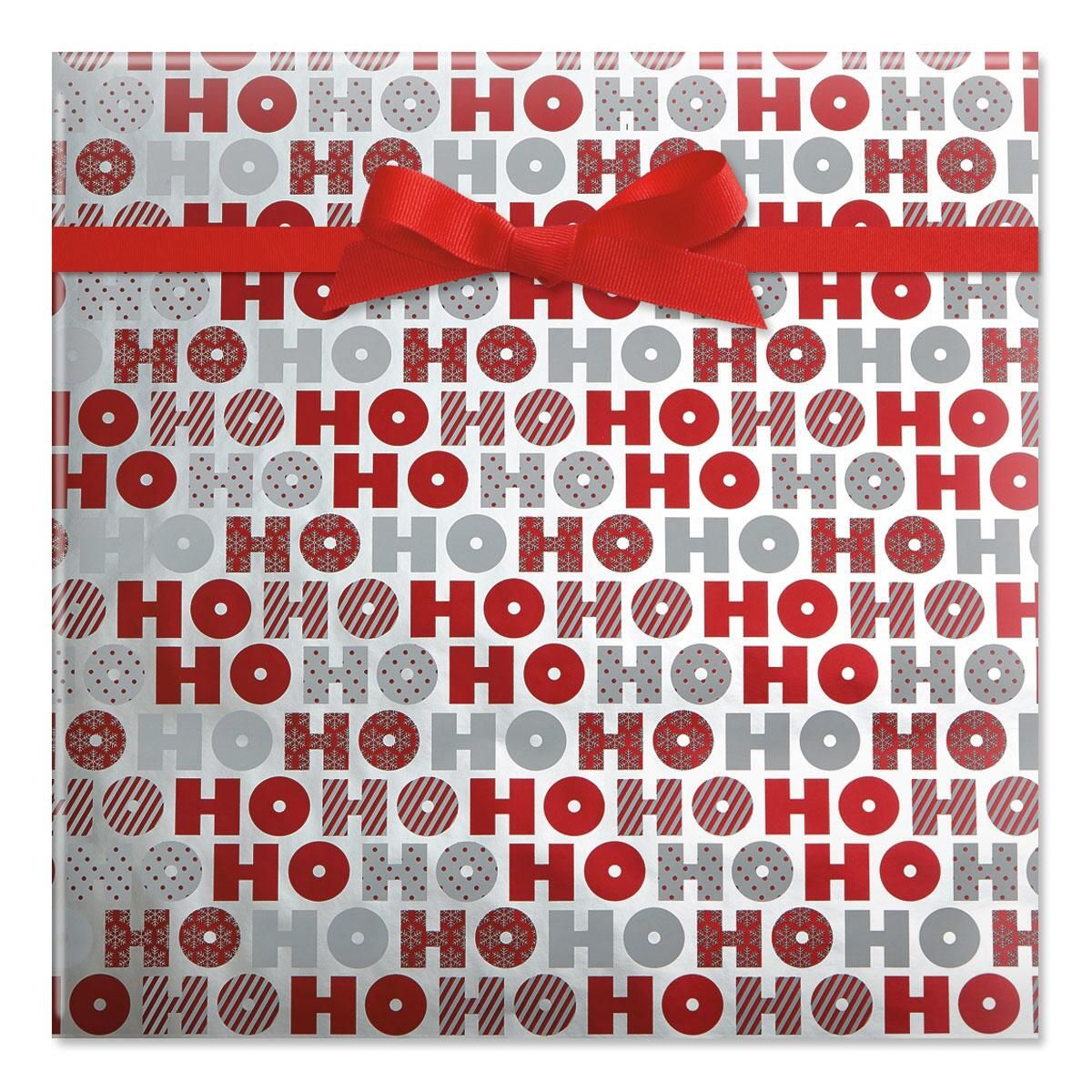 Red & White Ho Ho Ho Foil Rolled Gift Wrap