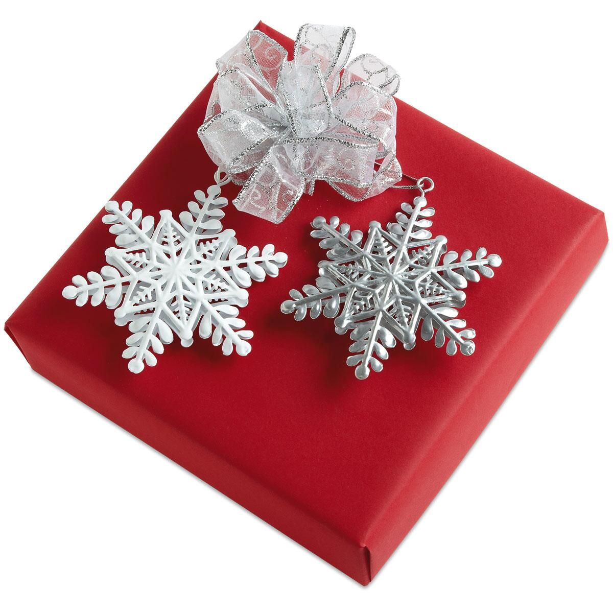 Silver & White Snowflake Package Toppers