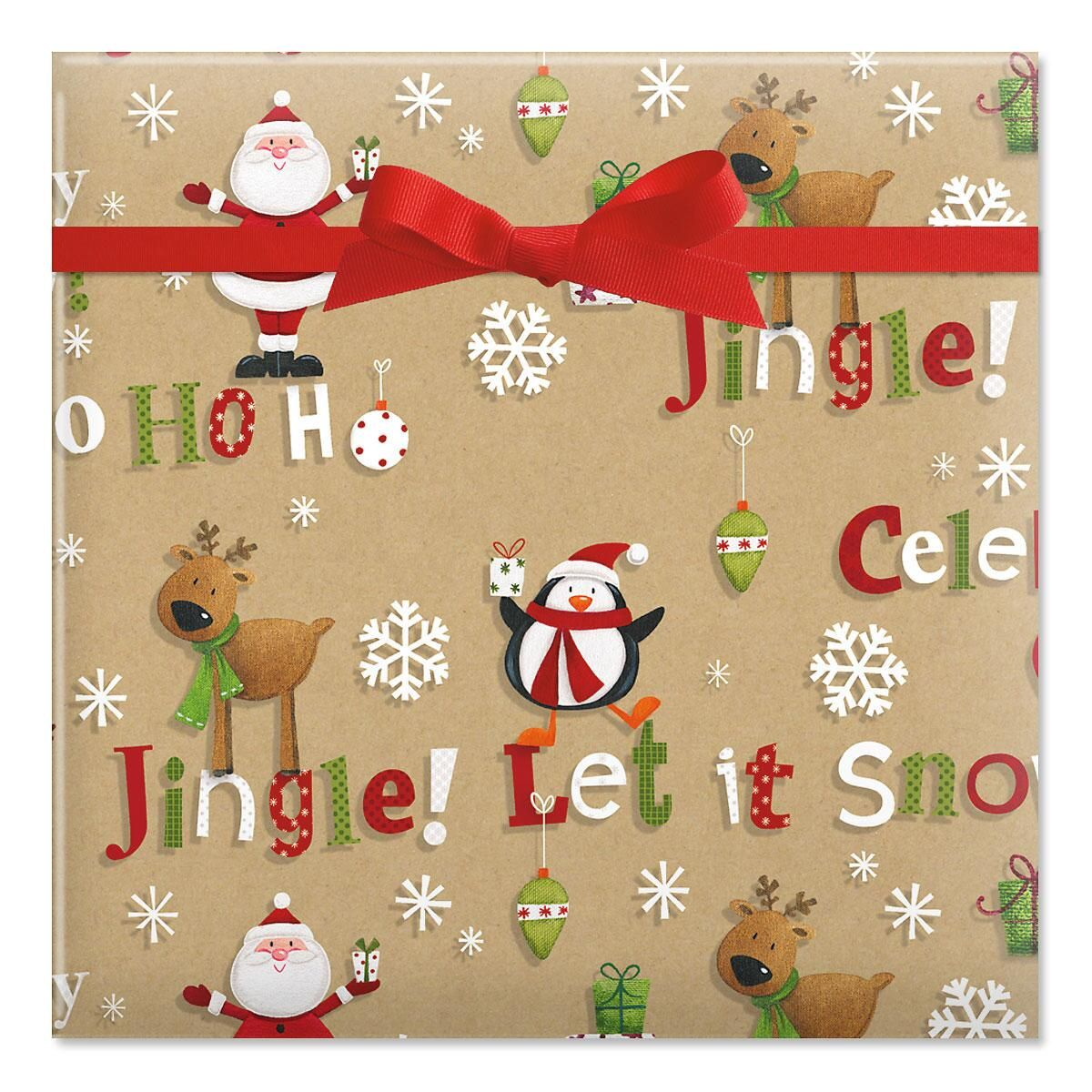 Just a Jingle Kraft Jumbo Rolled Gift Wrap