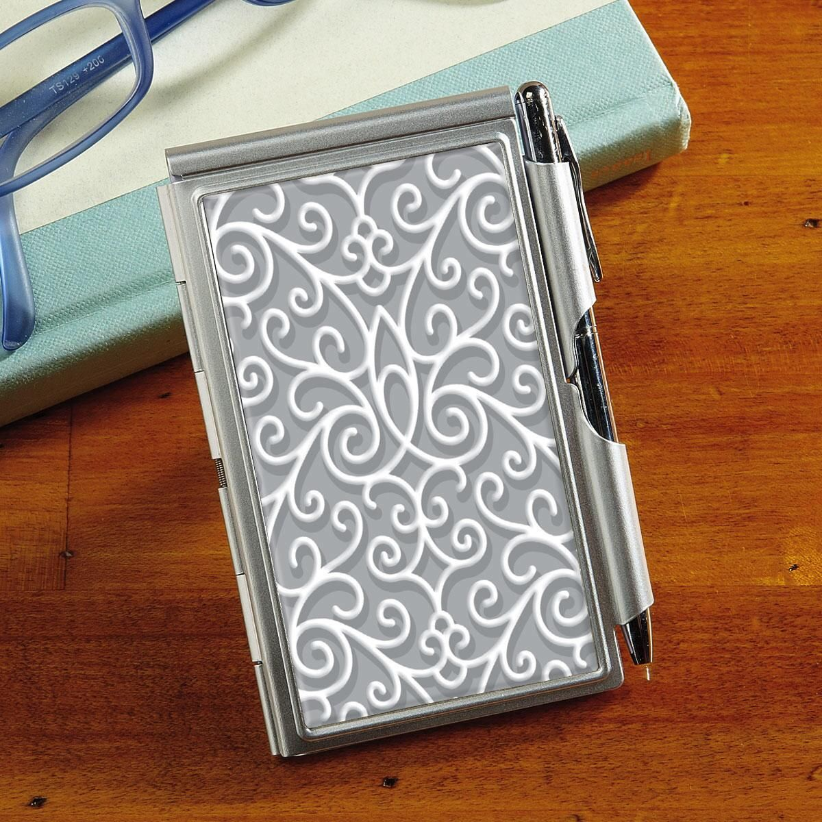 Grey Swirls Notepad & Pen Set