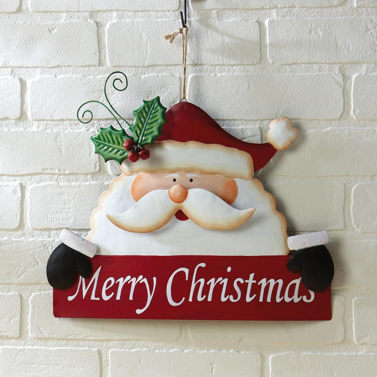 Merry Christmas Santa Festive Metal Sign