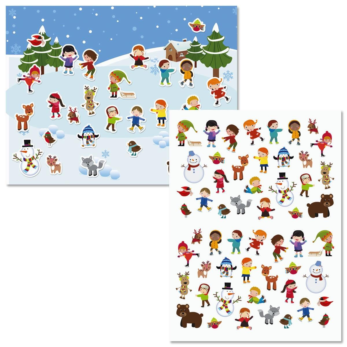 Ice Skating Fun Background Scenes and Stickers