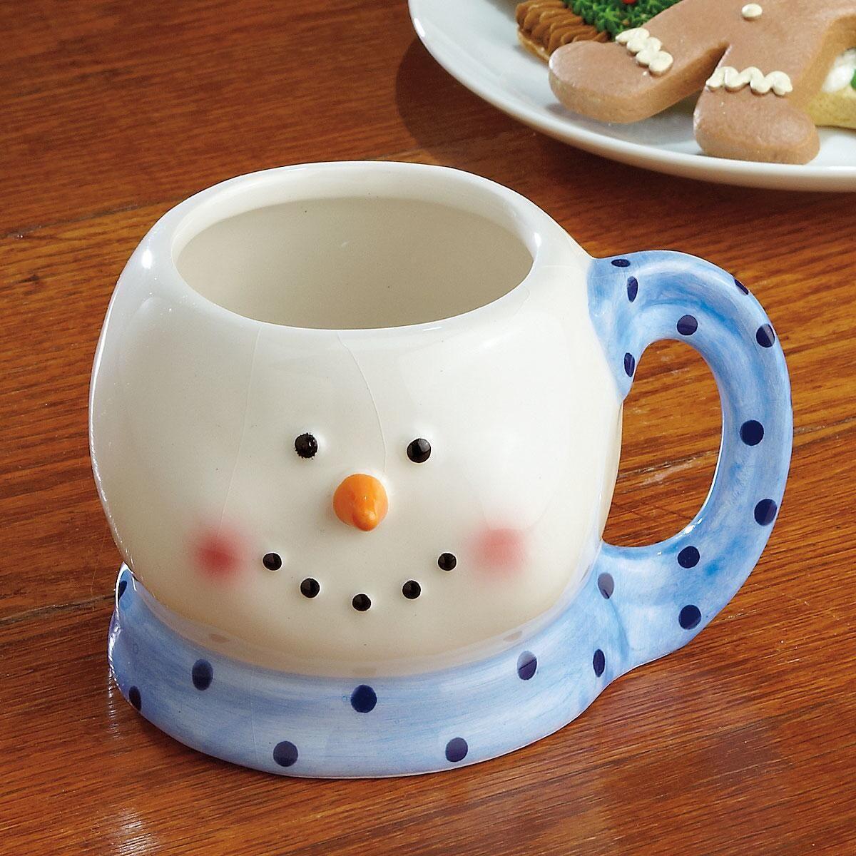 Blue Scarf Snowman Mug