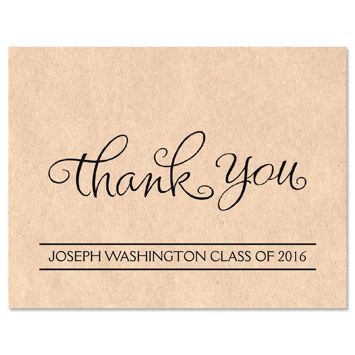 Kraft Graduation Personalized Thank You Note Cards