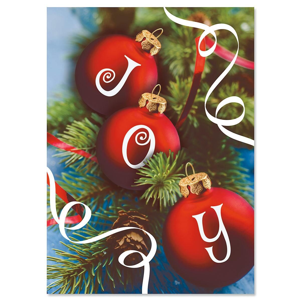 Ornament Joy Nonpersonalized Christmas Cards - Set of 18
