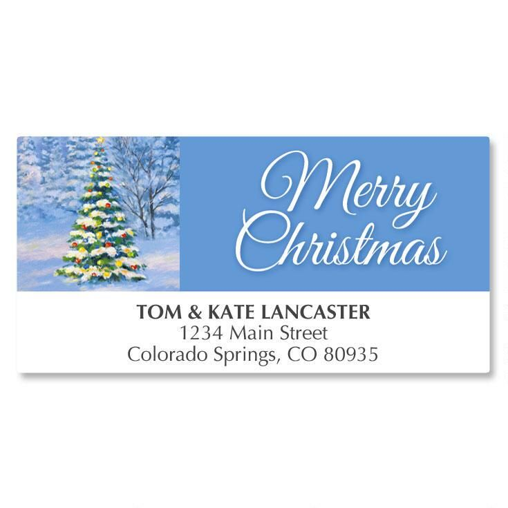 Snowy Tree Deluxe Address Labels