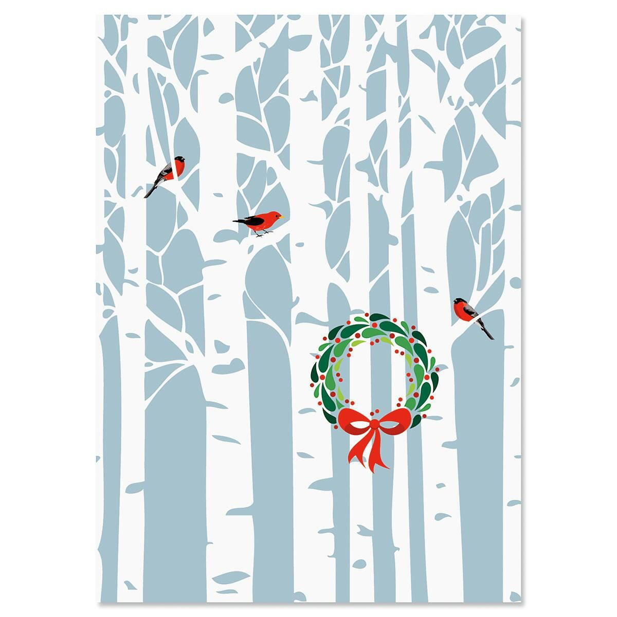 Aspens with Wreath Nonpersonalized Christmas Cards - Set of 18