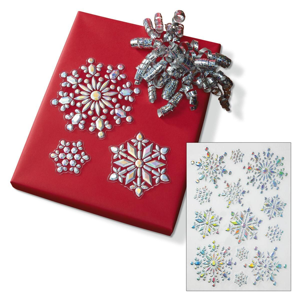 Shimmering 3D Silver Snowflake Decals