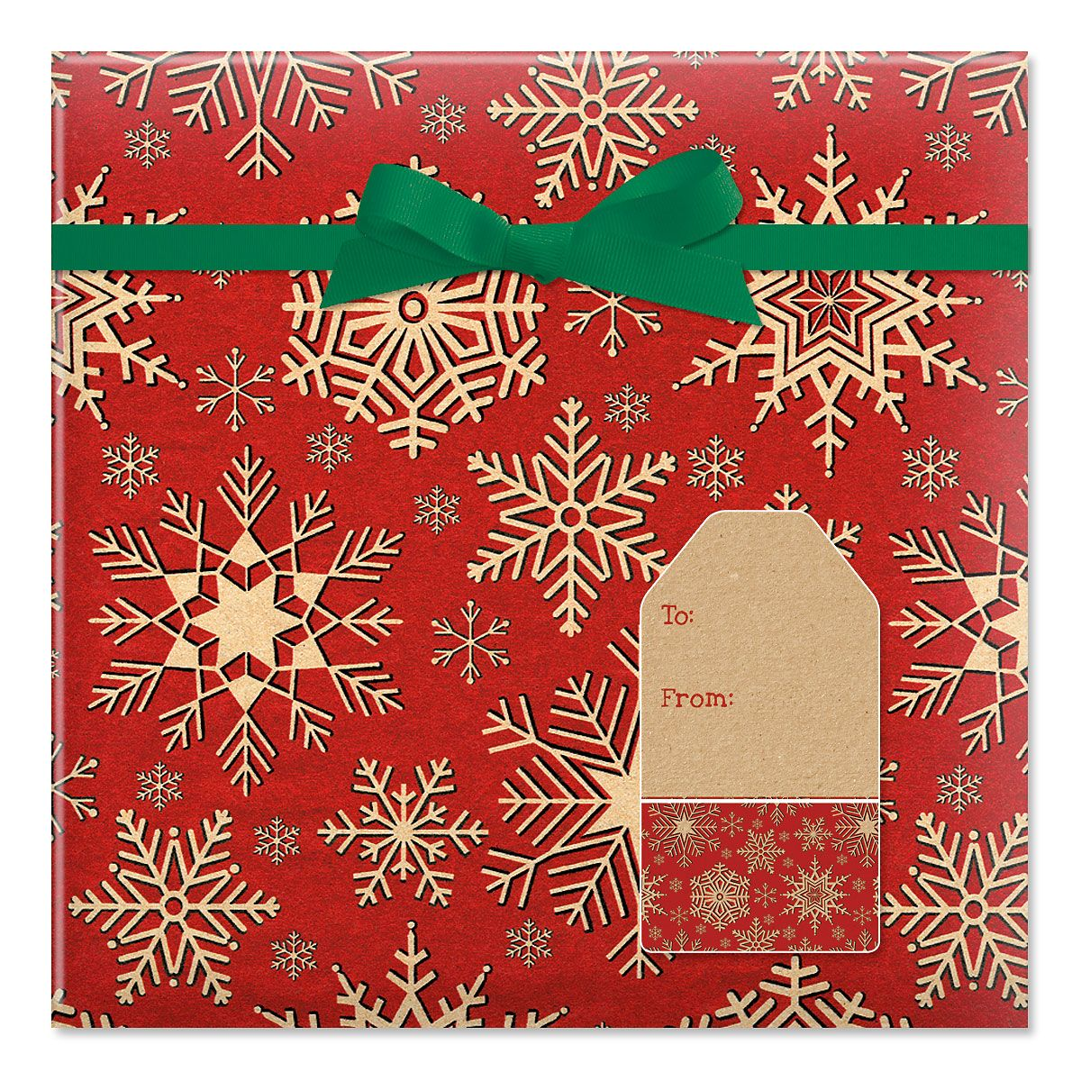 Woodcut Snowflake Jumbo Rolled Gift Wrap and Labels