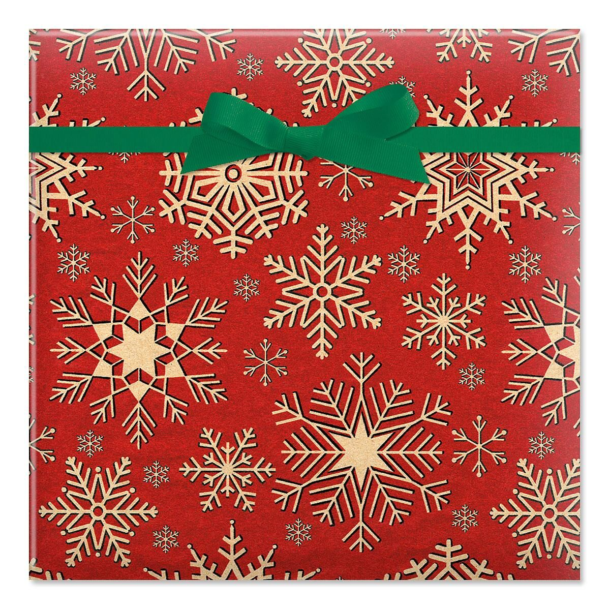 Woodcut Snowflake Jumbo Rolled Gift Wrap