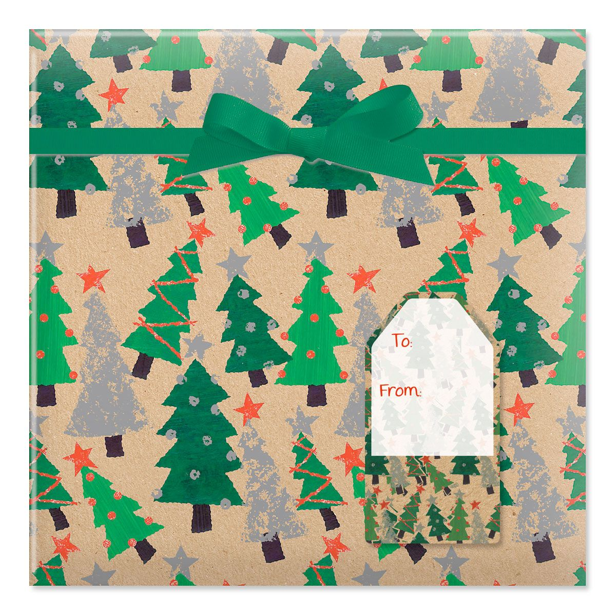 Crafty Trees Jumbo Rolled Gift Wrap and Labels