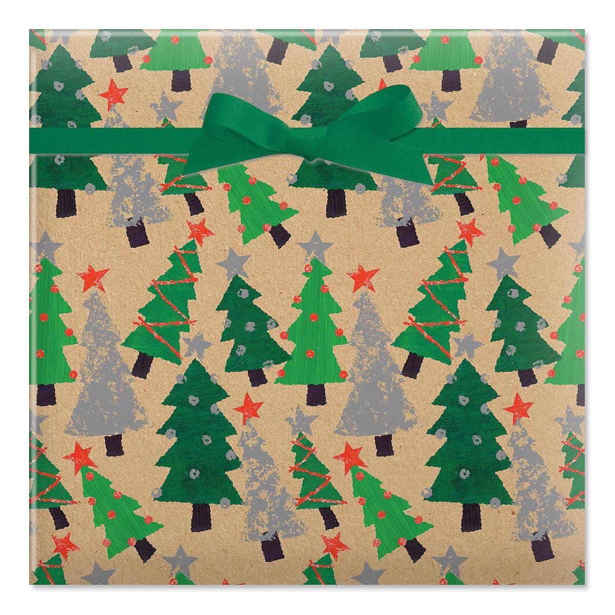 Crafty Trees Jumbo Rolled Gift Wrap