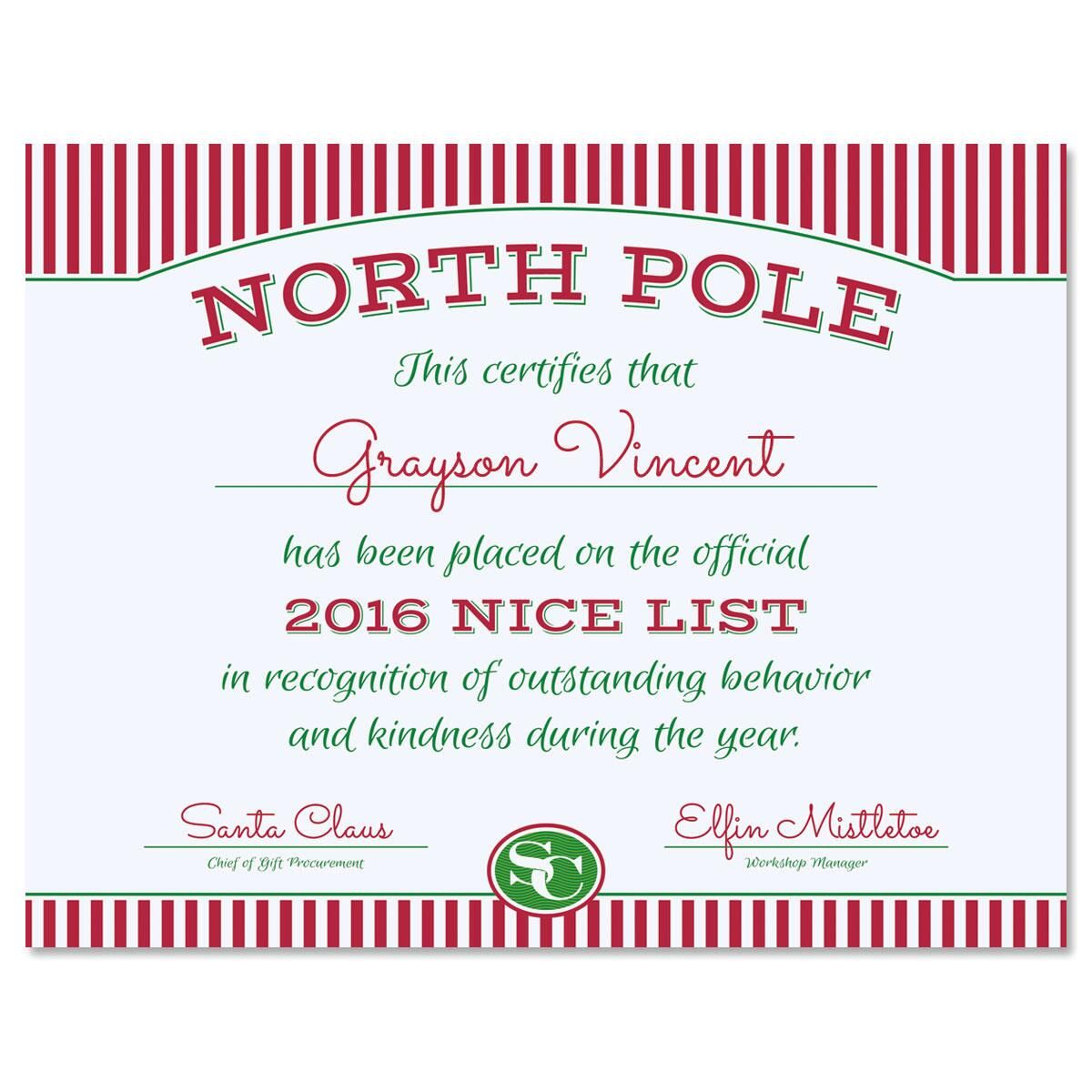 Santa's Personalized Certificate of Goodness