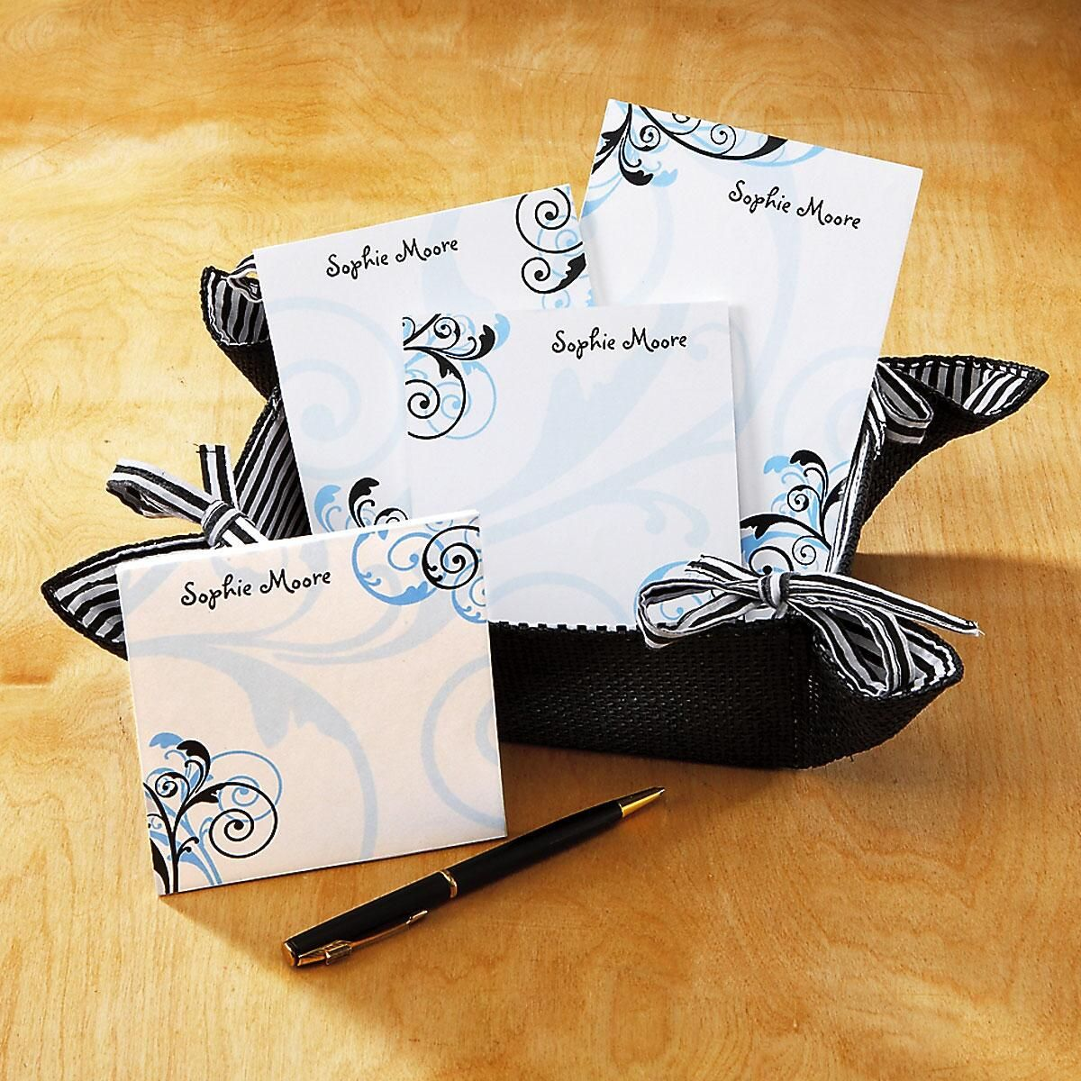 Personalized Notepads in a Basket