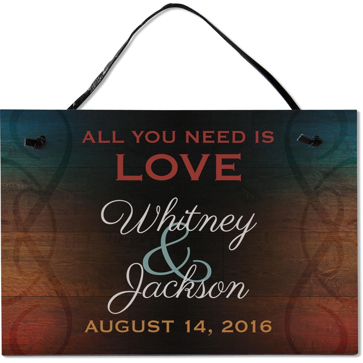 All You Need Is Love Personalized Wooden Plaque