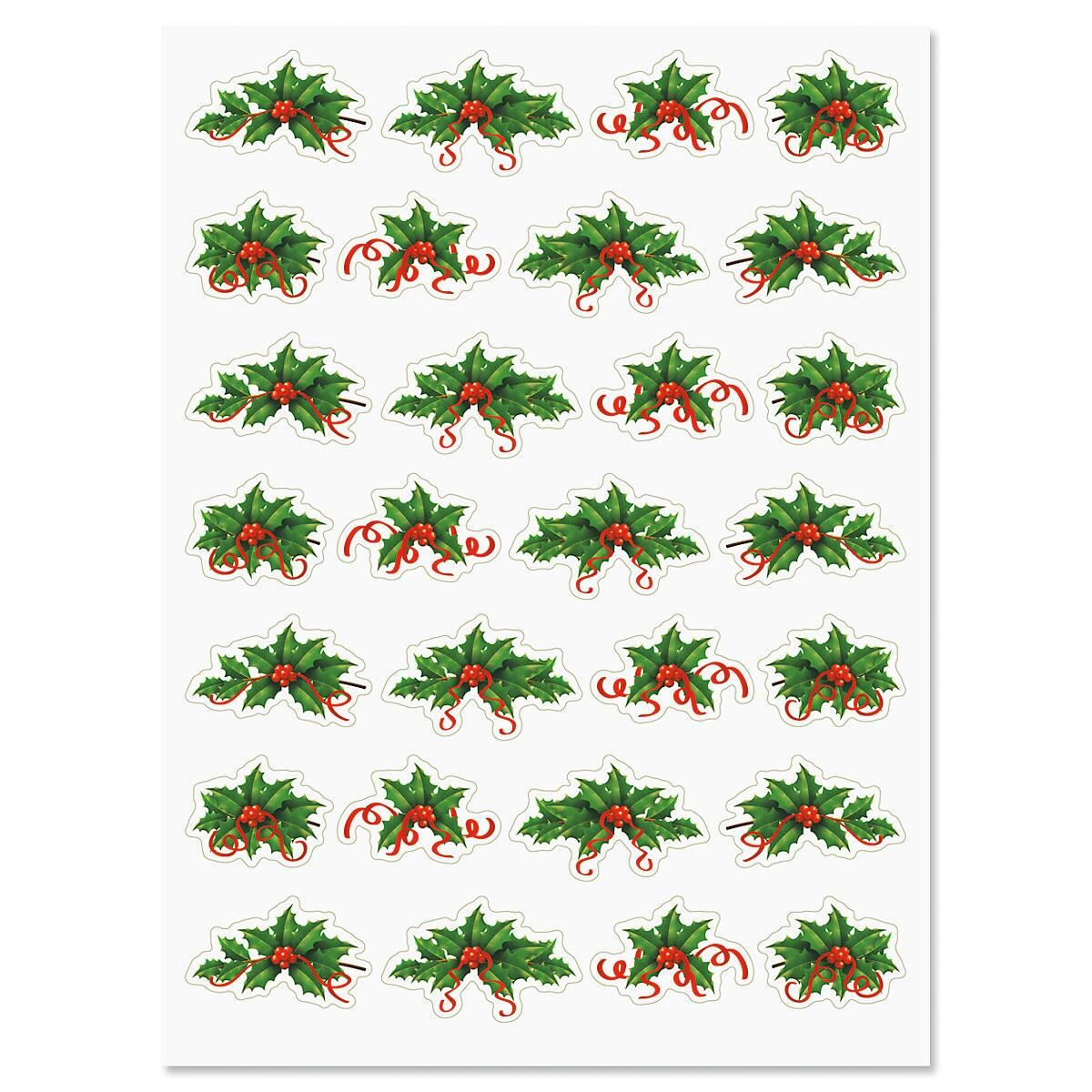Holly & Red Ribbon Holiday Stickers