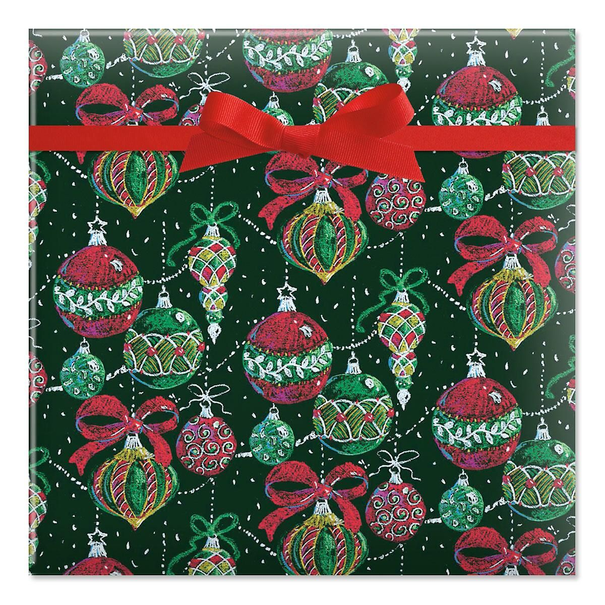 Chalkboard ornaments jumbo rolled gift wrap current catalog for Paper christmas gifts