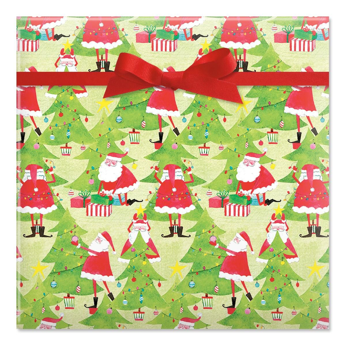 Tree Decorating Santas Rolled Gift Wrap