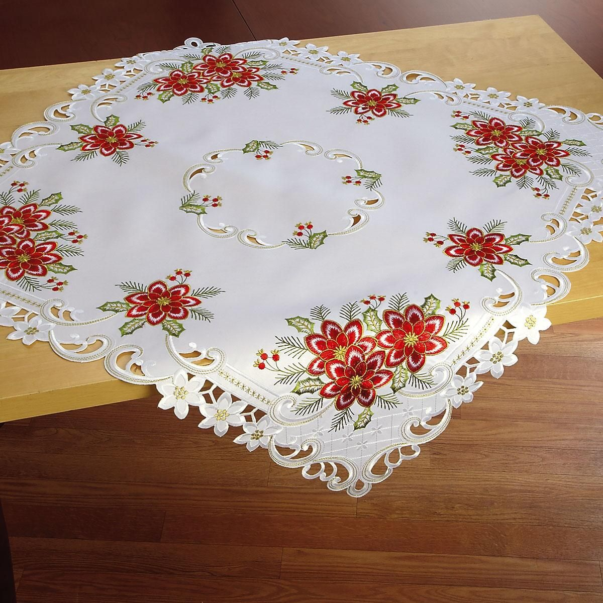 Square Poinsettia Table Linen