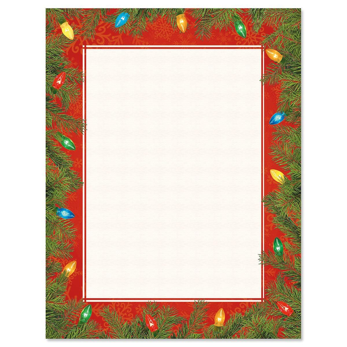 Tree Lights Christmas Letter Papers