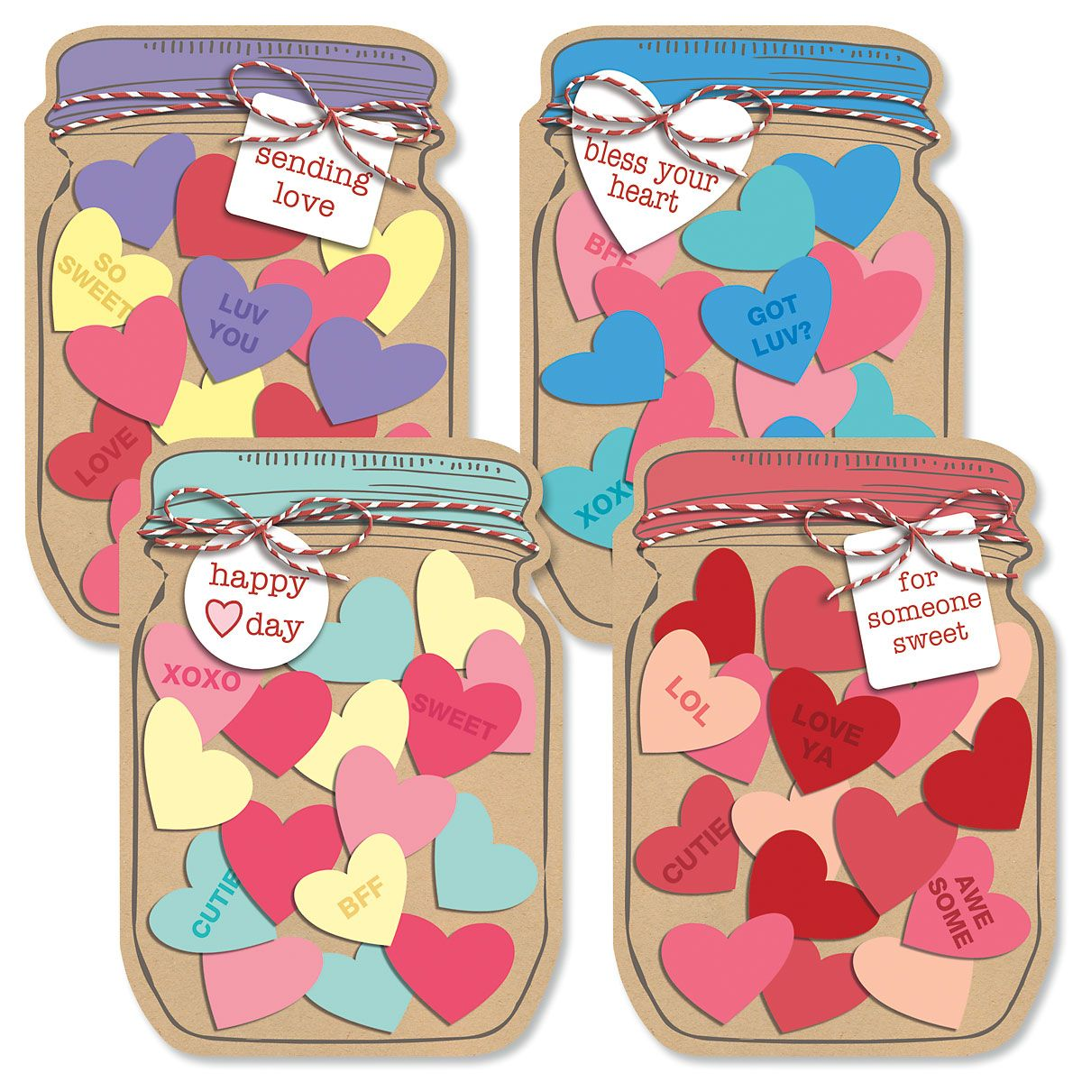 Diecut Jar of Hearts Valentine Cards and Matching Seals