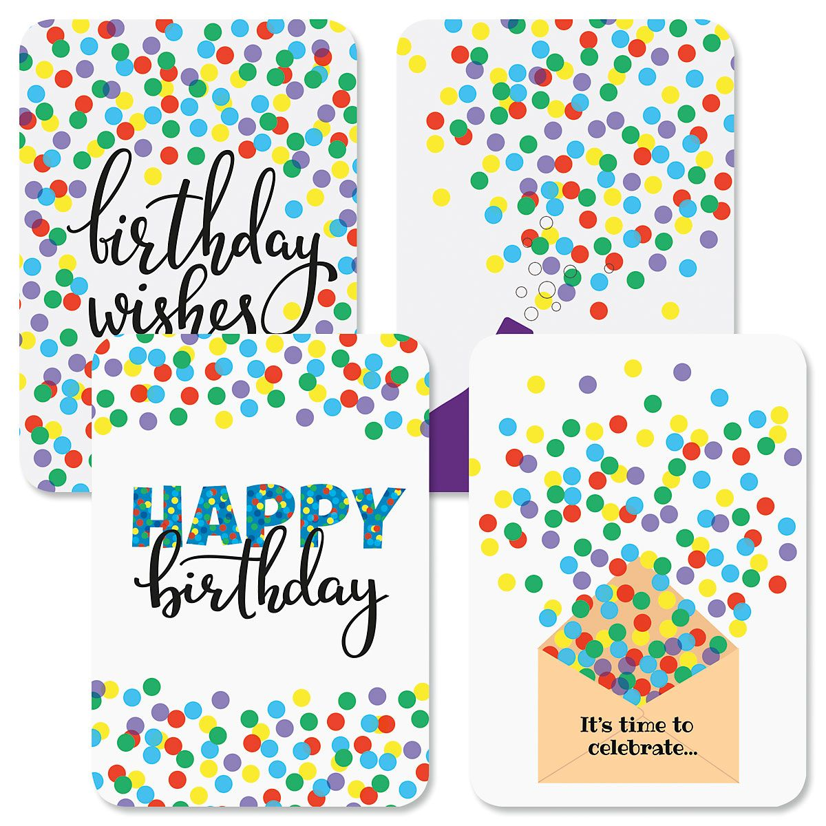 Confetti Wishes Birthday Cards and Seals