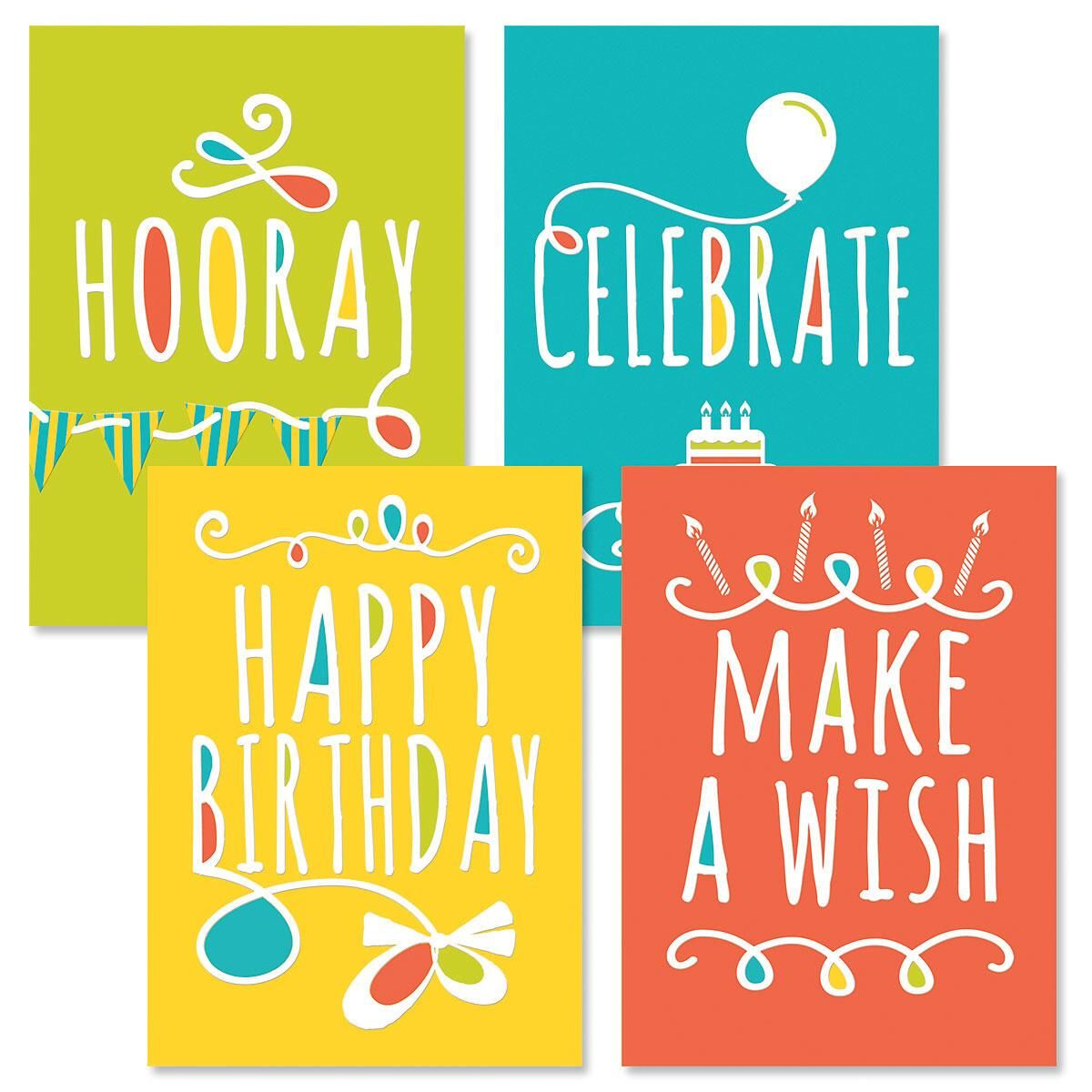 Doodle Words Birthday Cards