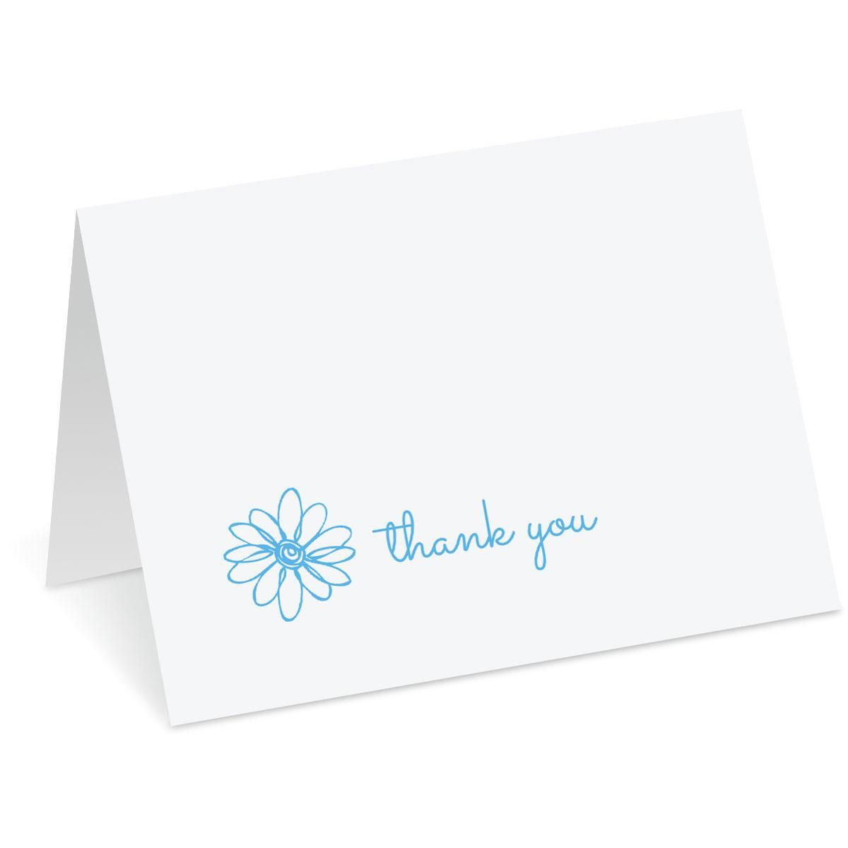 Blue Posie Thank You Note Cards