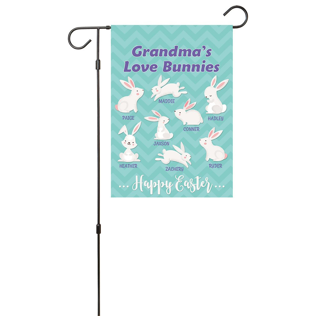 Personalized Love Bunnies Garden Flag - 8 Names