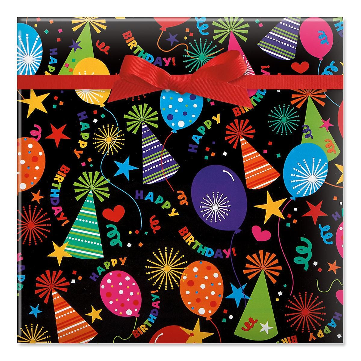 Black Birthday Hats Jumbo Rolled Gift Wrap