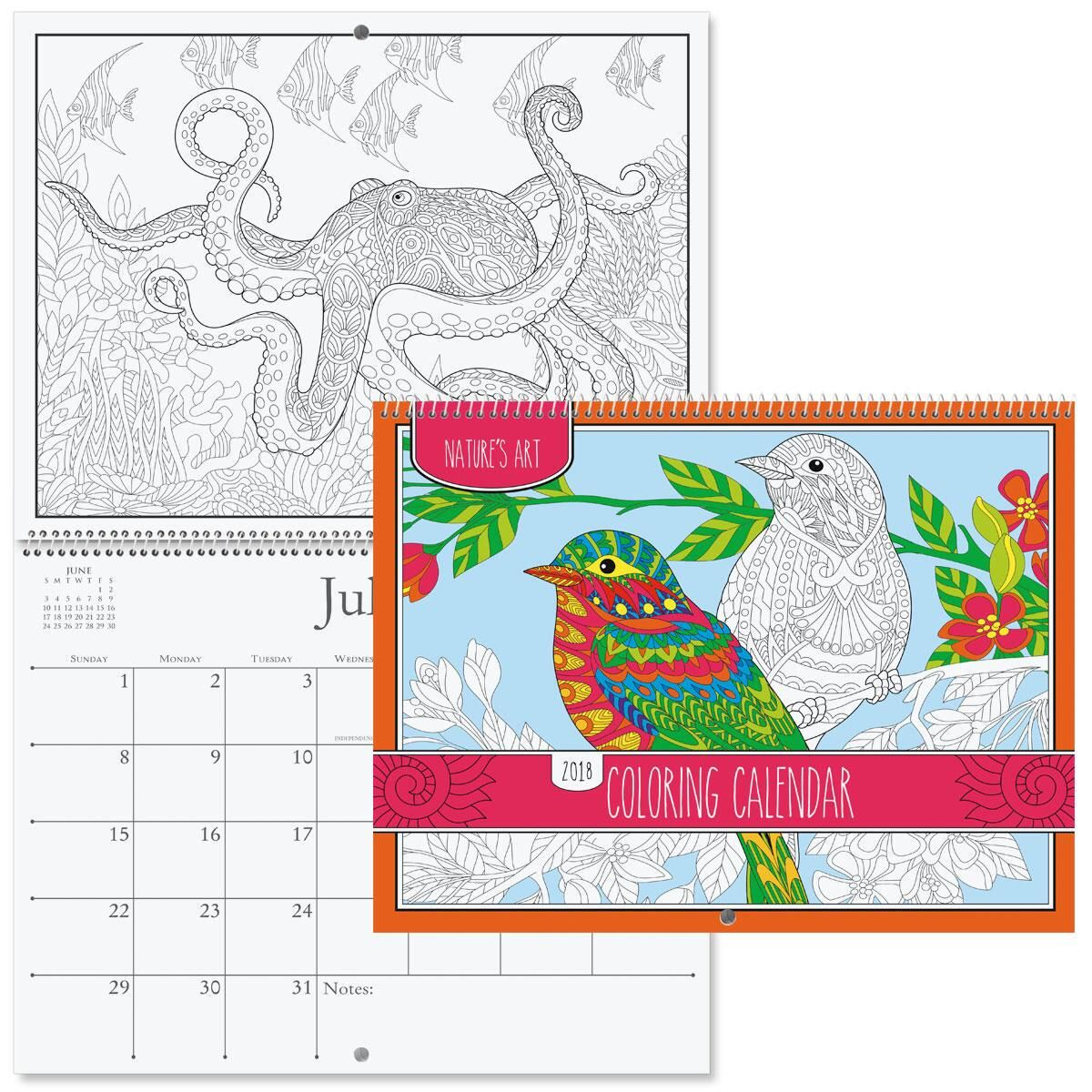 2018 Colorbook Pages Wall Calendar