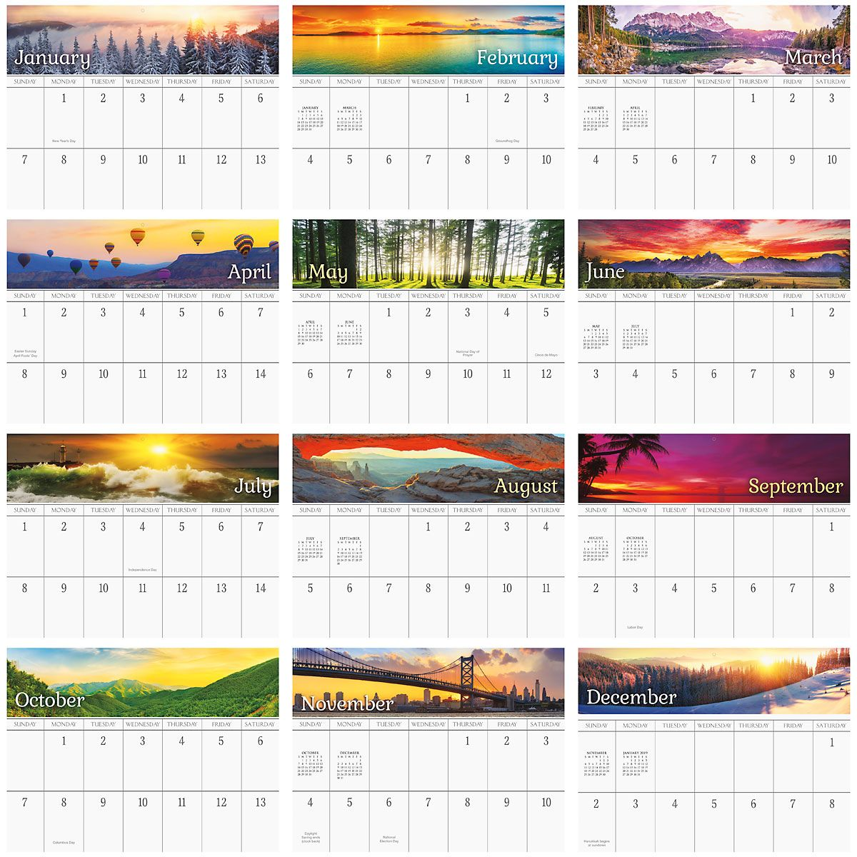 2018 Sunsets Big Grid Calendar with Pockets
