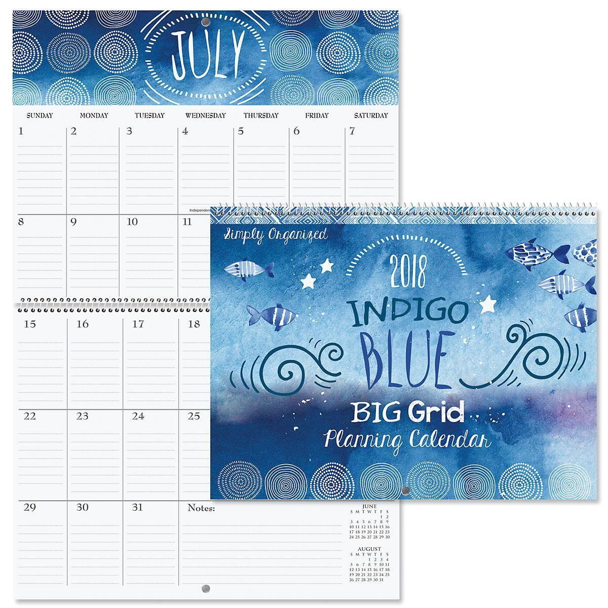 2018 Indigo Blue Big Grid Planning Calendar