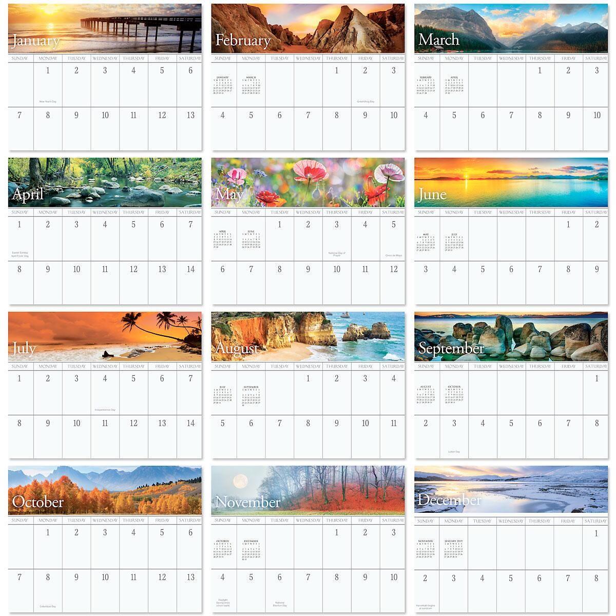 2018 Nature's Art Big Grid Calendar with Pockets