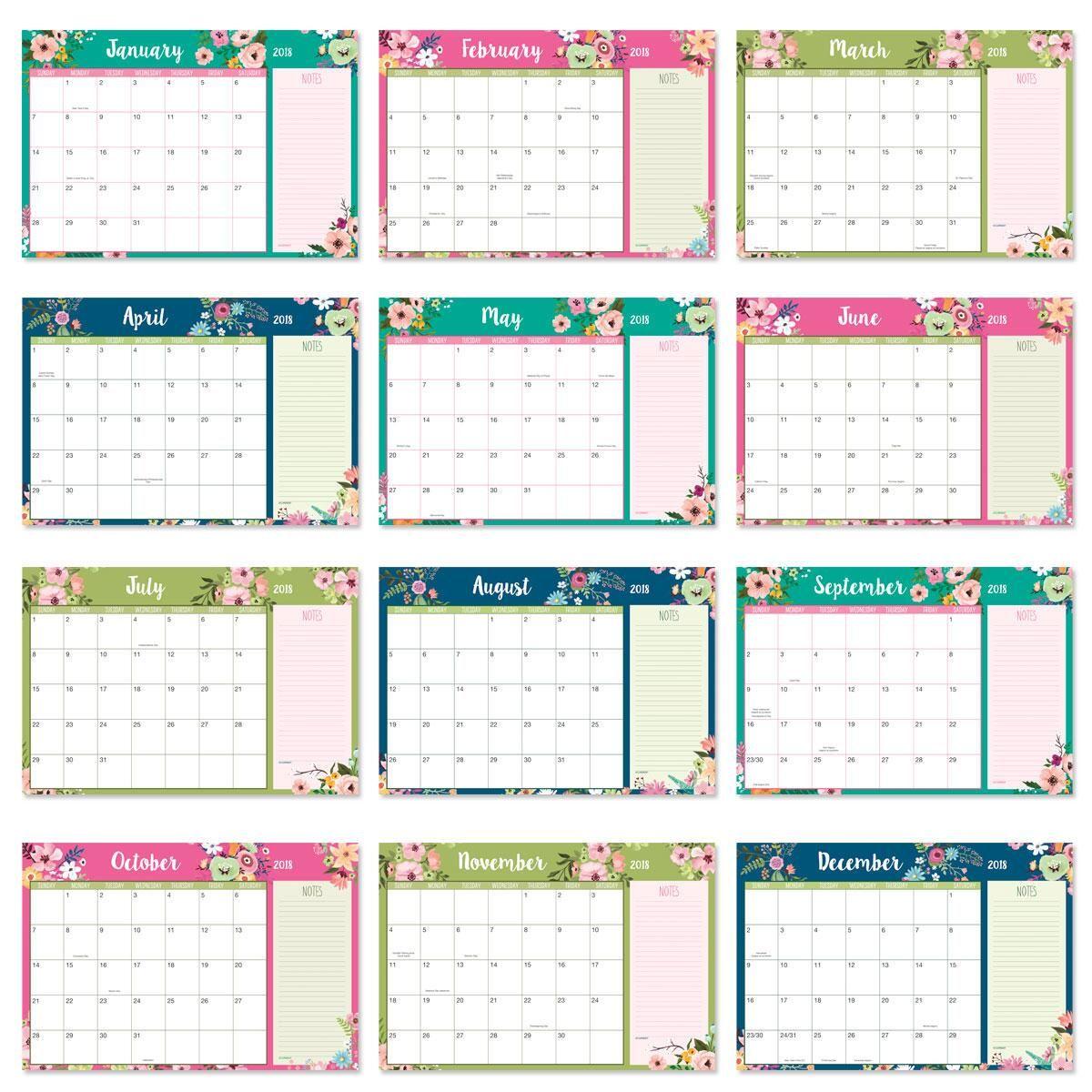 2018-2019 Floral Fantasy Calendar Pad