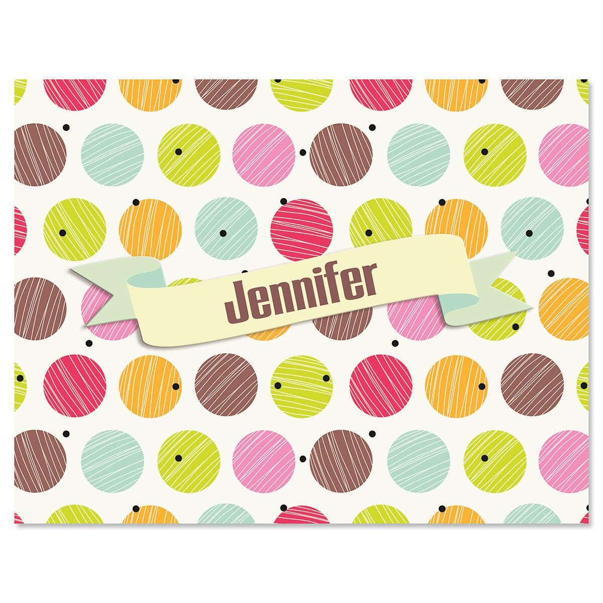 Doodle Dots Personalized Note Cards