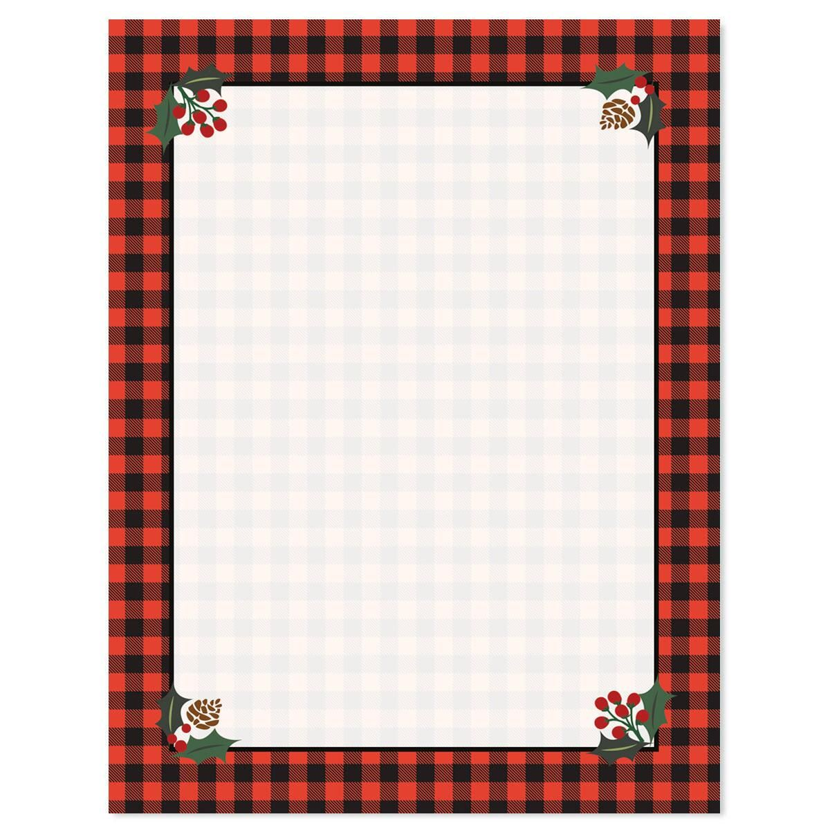 Buffalo Plaid Christmas Letter Papers