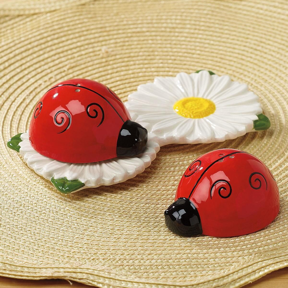 Ceramic Ladybug & Daisy Salt & Pepper Shakers