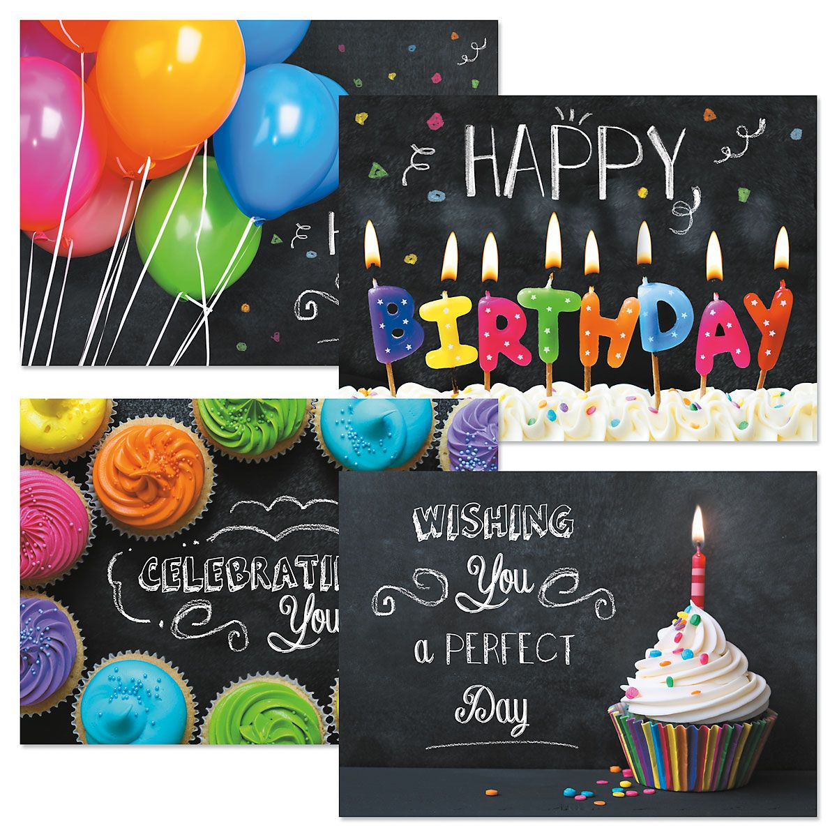 Bright on Black Birthday Cards and Seals